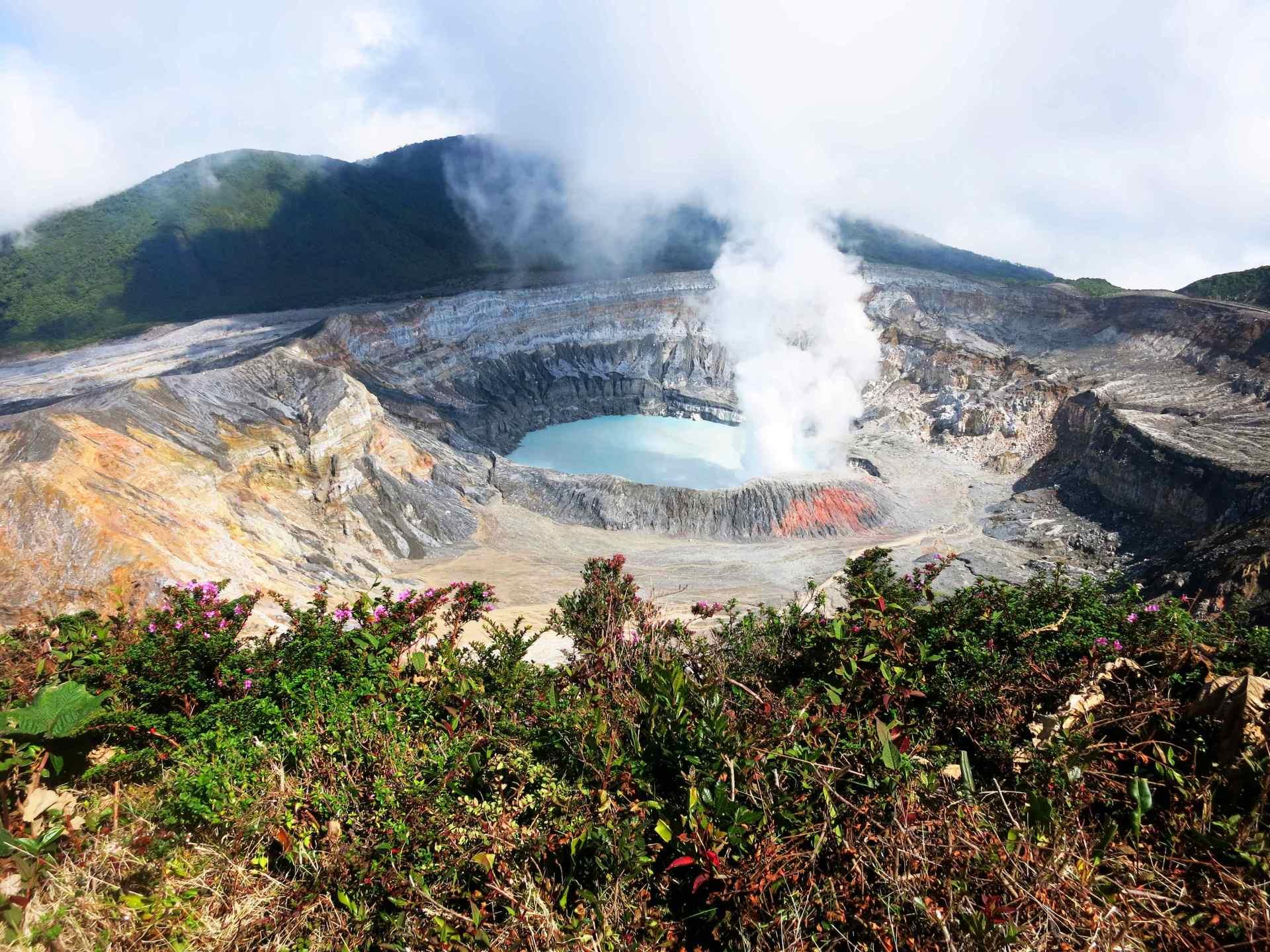 Aussicht Vulkan Poas Hauptkrater gute Sicht